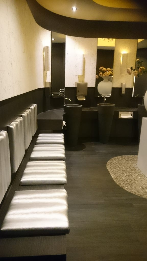 The inside of the womens toilets downstairs at the Van der Valk hotel Tiel. A couch for 4 persons and luxurious basins to wash you r hands