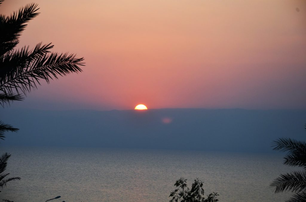 To show the Dead Sea. The sun is setting above the Dead Sea. Coloring the sky, blue, pink and yellow. Under it the sea. Some branches coming into the picture.