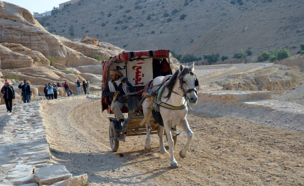A picture to show the path in front of the Siq, how you walk toward the Siq. A sand walking path. A beam of rocks and sand next to it. A larger sand road with a horse drawn cart on it. The rider talking to the people on the path.