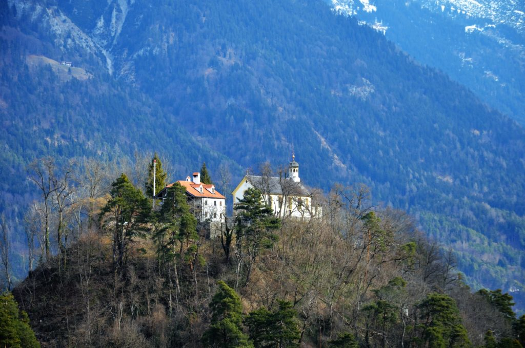 On a hill a castle, or  2 larger building surrounded by trees, with a mountain behind it