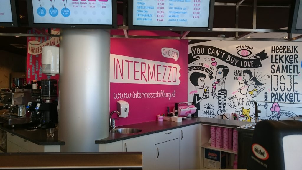 To show part of the inside of the ice cream shop Intermezzo.