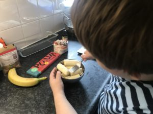 To show us making a banananbread.