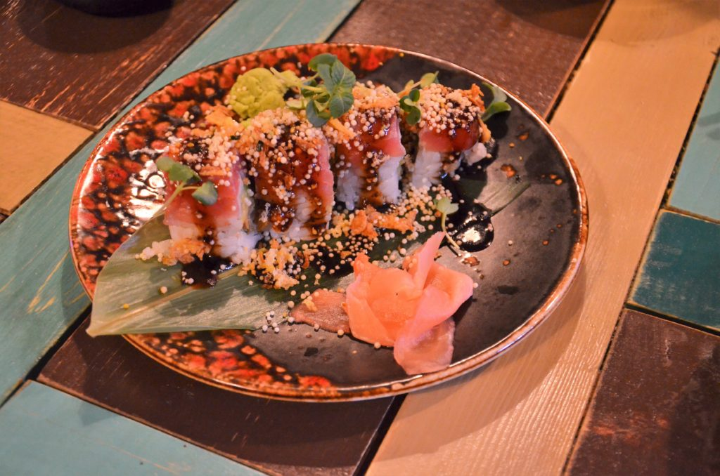 To show a sushi dish from F.A.K.