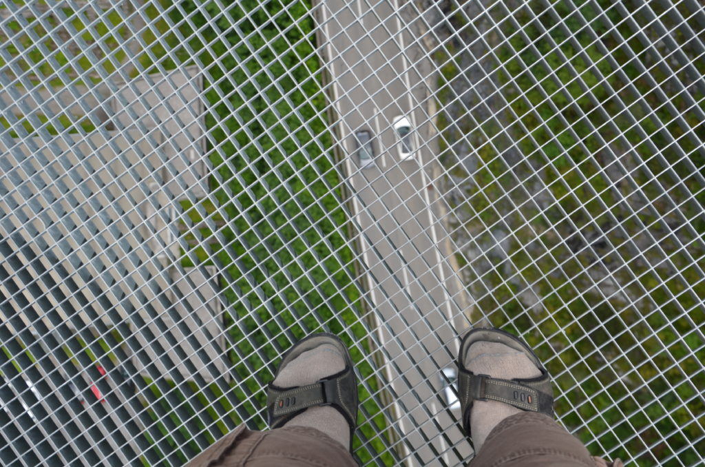 To show how the view was looking down at the suspension bridge. Week in Austria