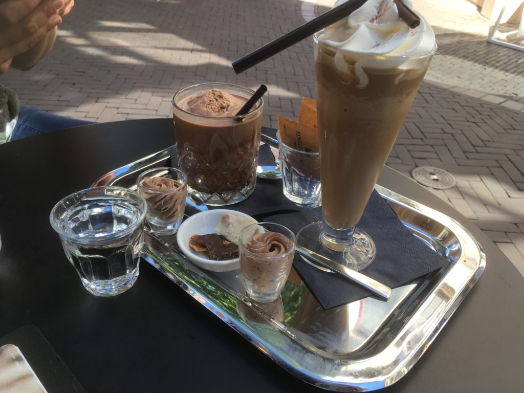 To show Chocolate drinks with goodies at Hop & Stork