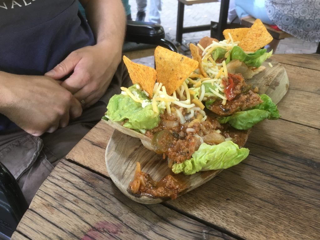 To show a lunch item from Se7en, the Mexican style club sandwich