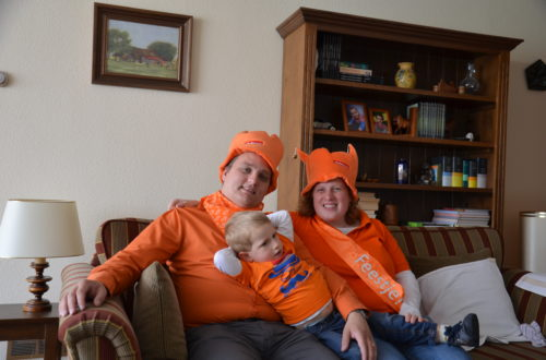 Dressed up for Queensday in Orange, inside my parents house