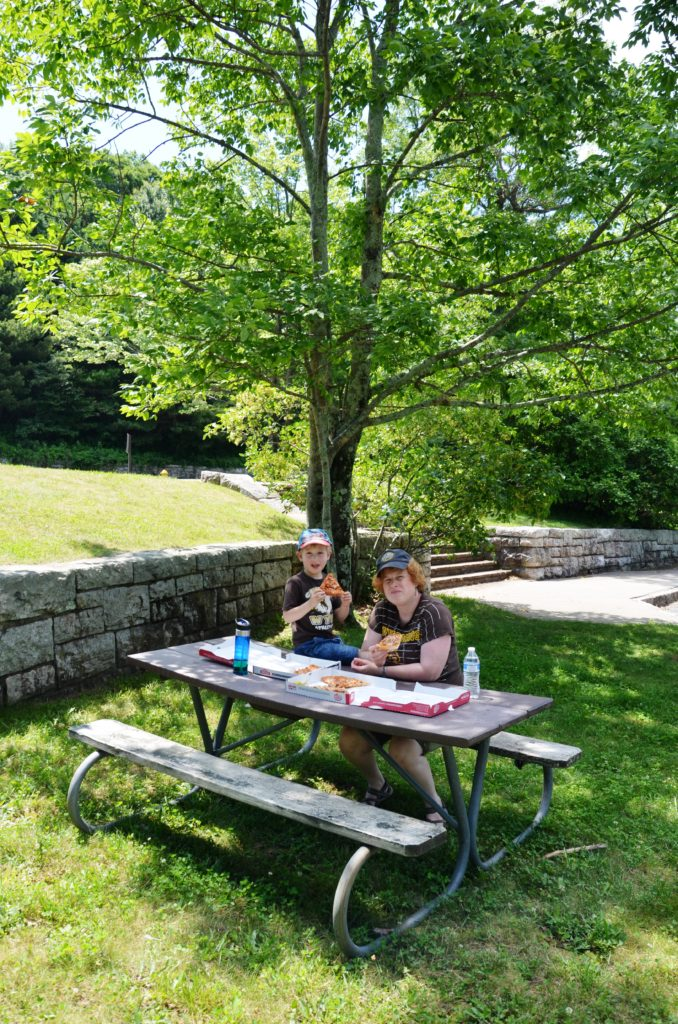 Pic nic with pizza at Shenandoah National Park