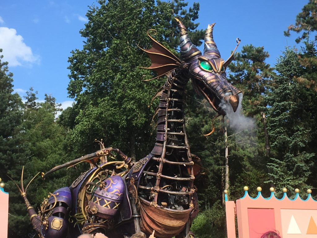 A dragon during the opening parade at Disneyland Paris