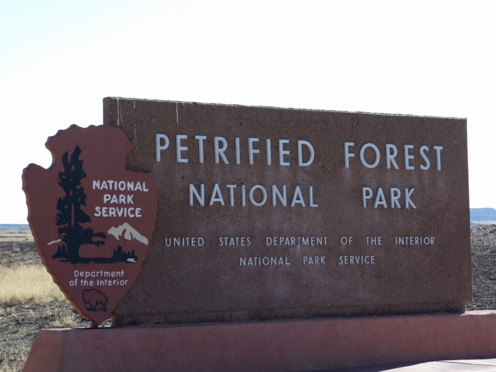 The sign of Petrified Forest National Park