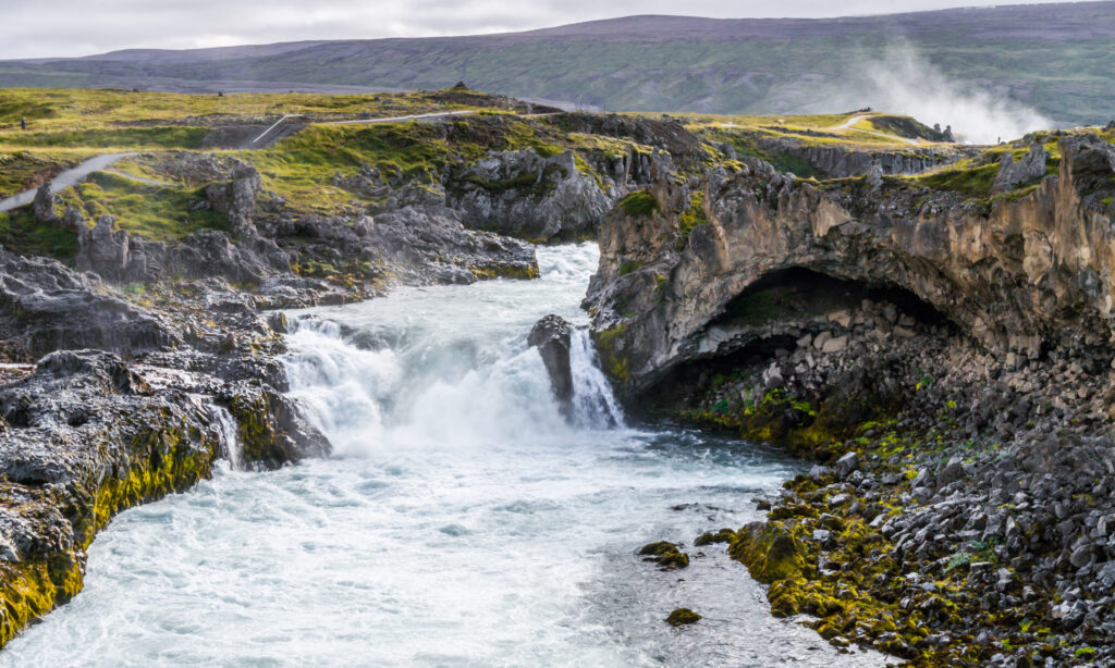 Dettifoss, surrounded by the well known rocks and green moss from Iceland