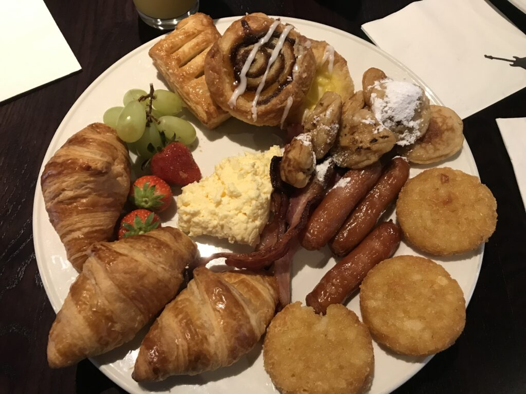 A plate with pastries and other goodies