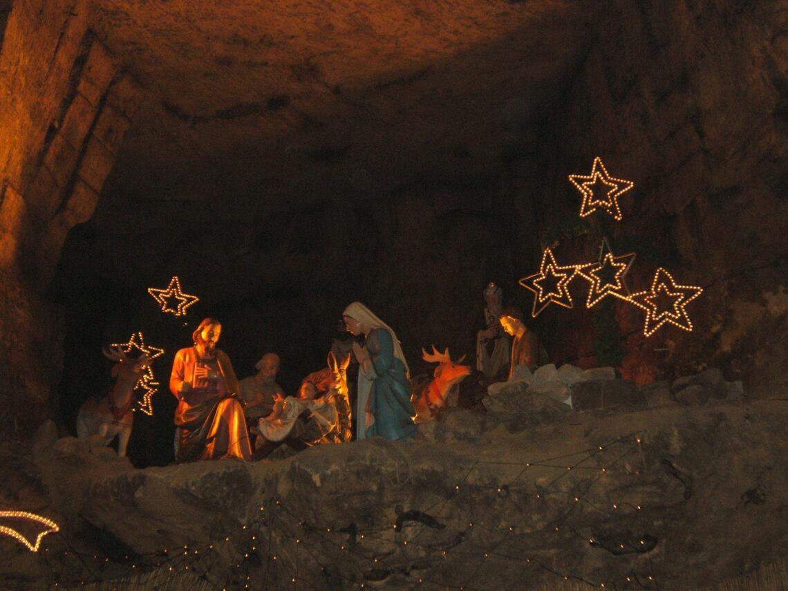 Nativity scene inside the cave