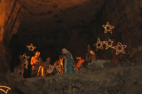 Nativity scene inside the cave