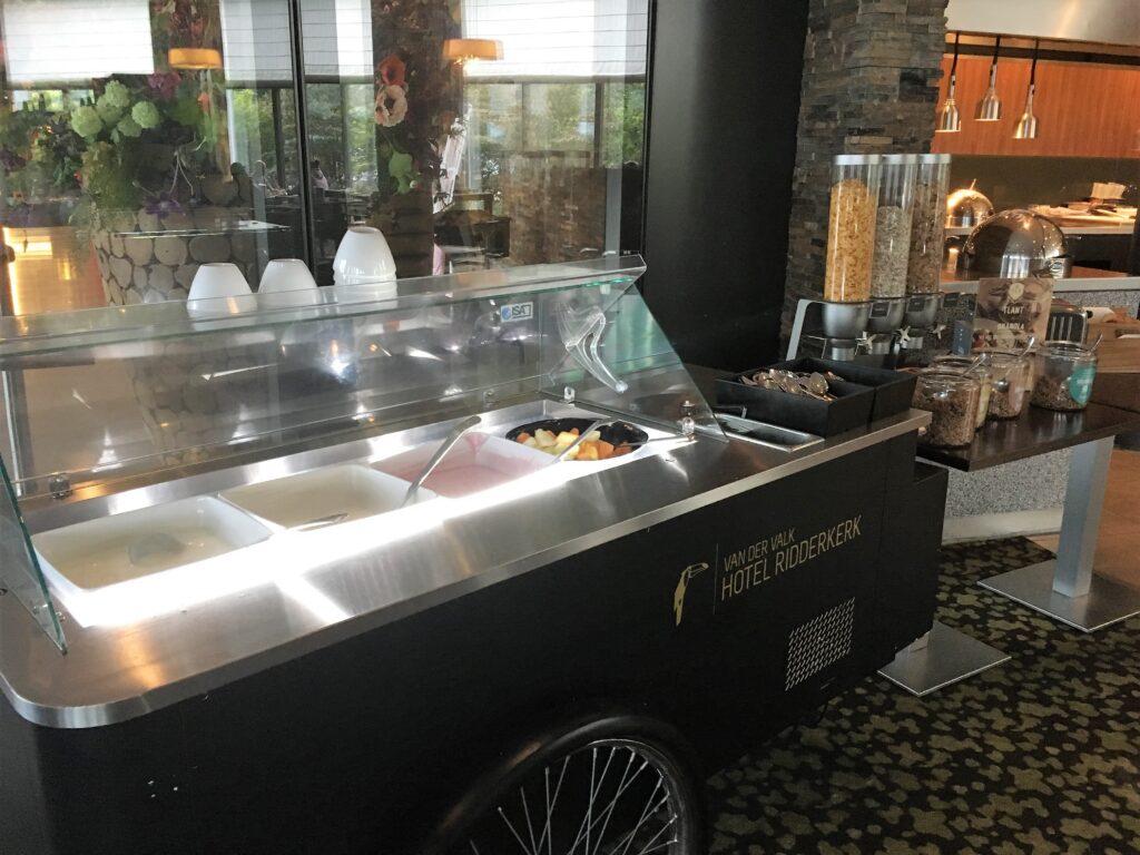 The yogurt bar, in a ice cream cart
