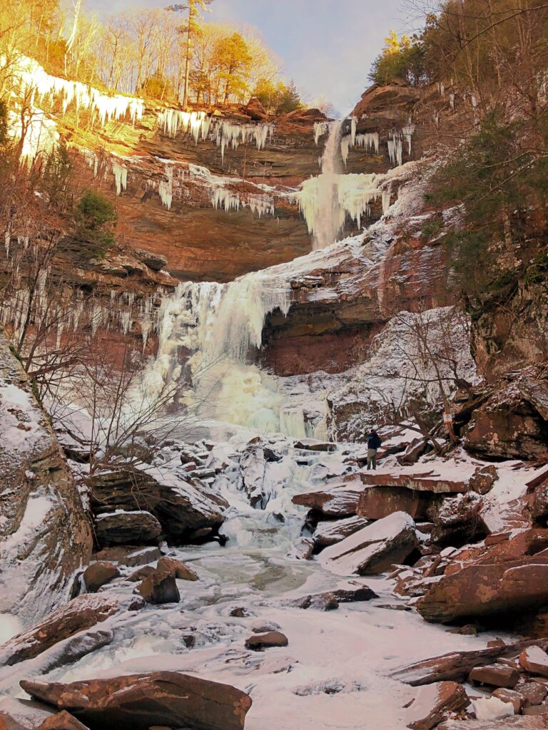 Kaaterskill Falls in winter time, frozen over, 'dropping'down a rock