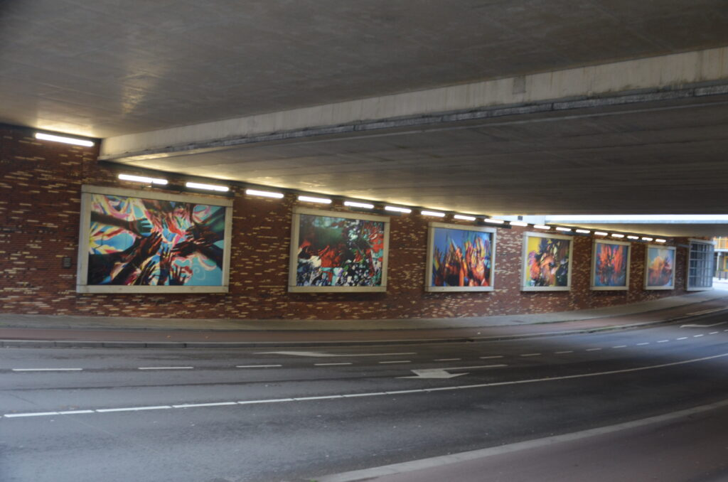 Several art works under the train station