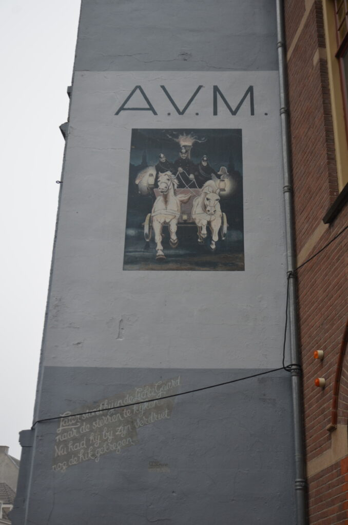 A.V.M., a carriage with 2 white horses in front on the painting