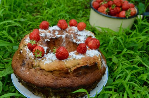 Keks, a sort of bundt cake topped with straweberries on a plate standing in the grass, further back a bowl with strawberries