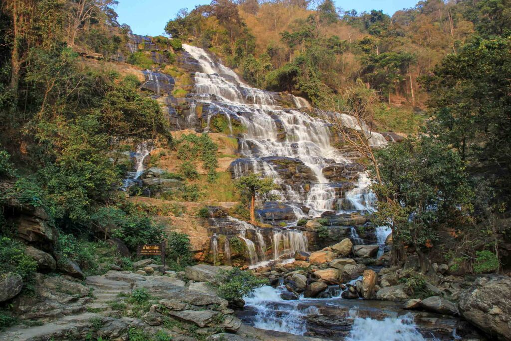 Mae Ya Waterfall a waterfall flowing down over several tieres down
