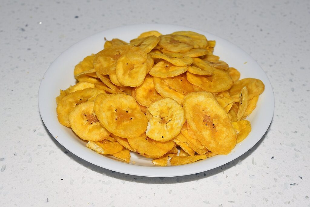 Banana chips on a plate