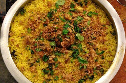 Biryani in large pot/plate