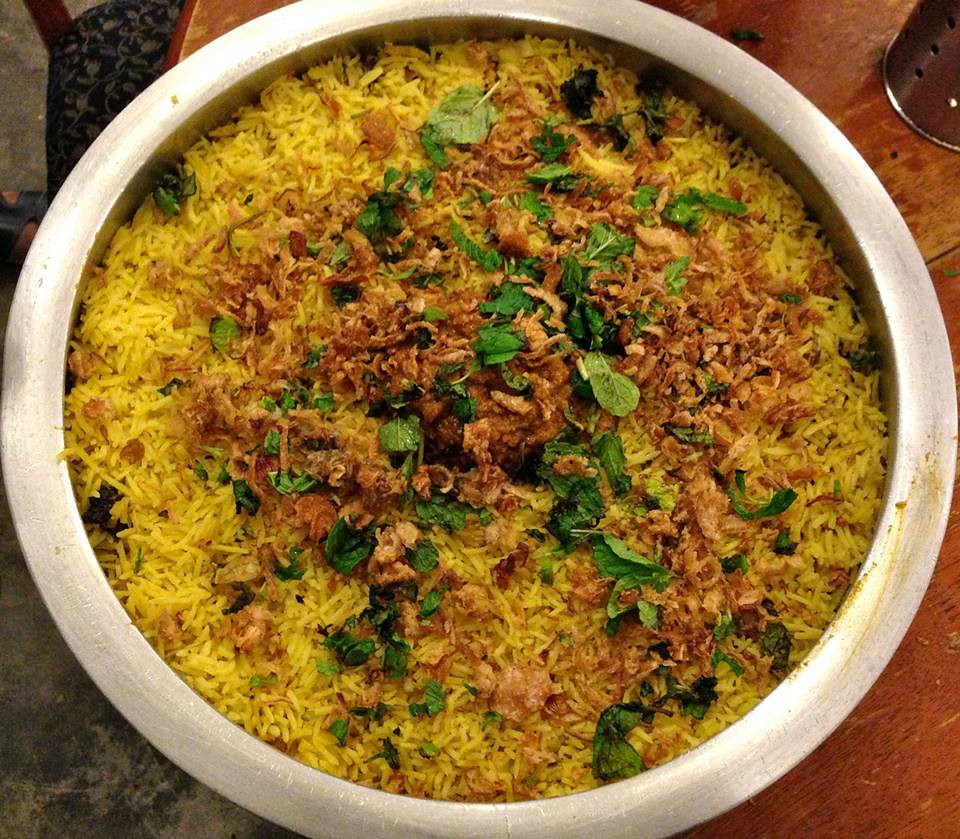 Biryani in large pot/plate