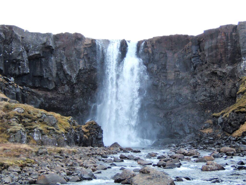 Fardagafoss a two-tier waterfalls, seen from a little back
