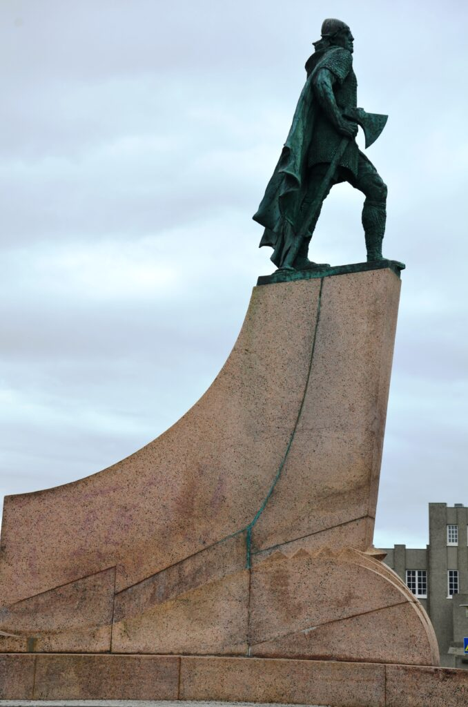 Statue of Leif Eriksson, as seen from the side.