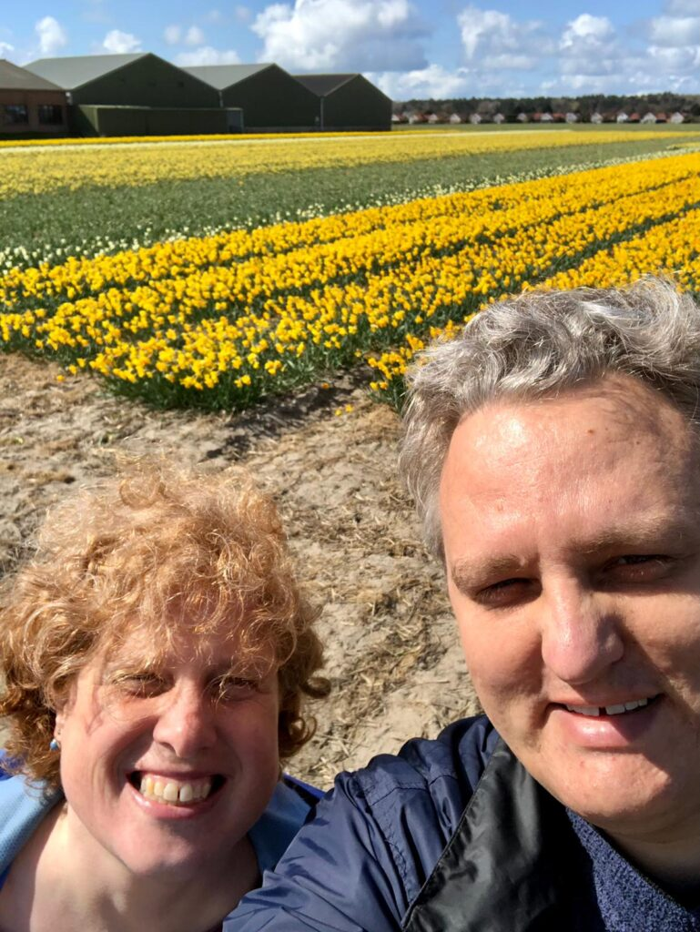 Daffodil field in yellow with paul and Cosette in front