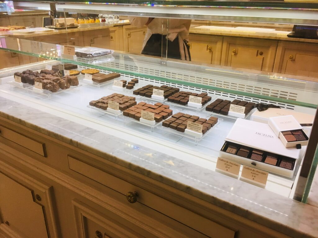 Counter with chocolats at Angelina Paris