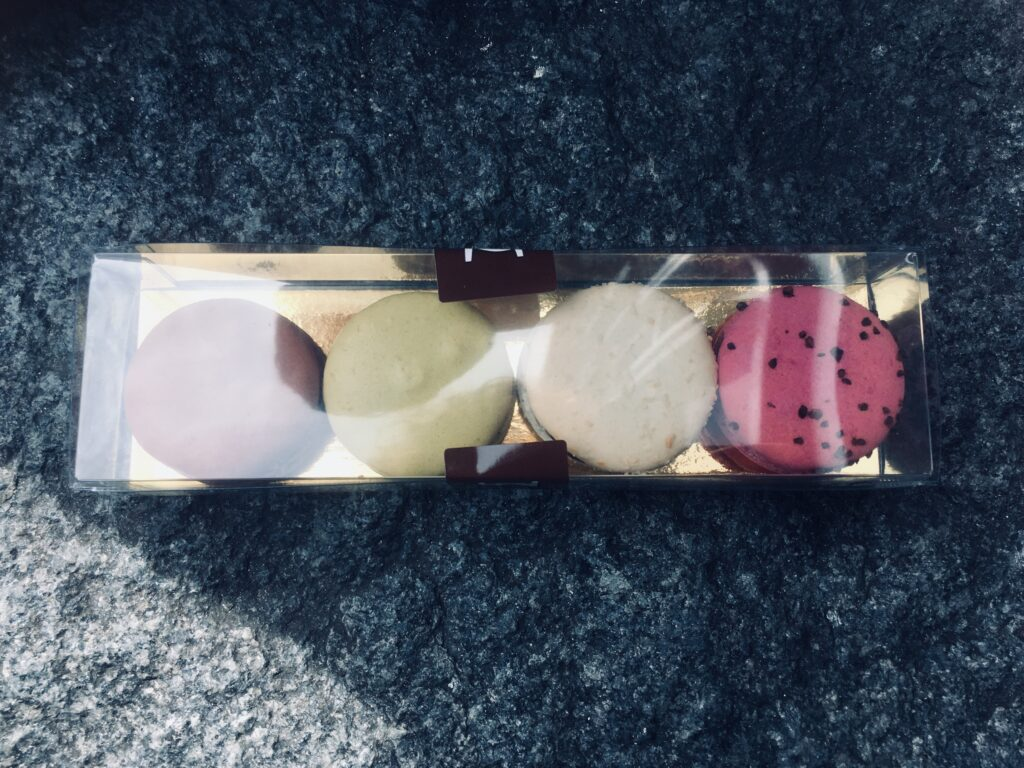 Macarons from la Maison du Chocolat in see through package. 4 macarons