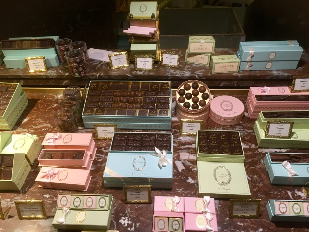 Display at Fauchon with chocolates
