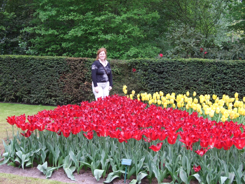 Cosette with tulips
