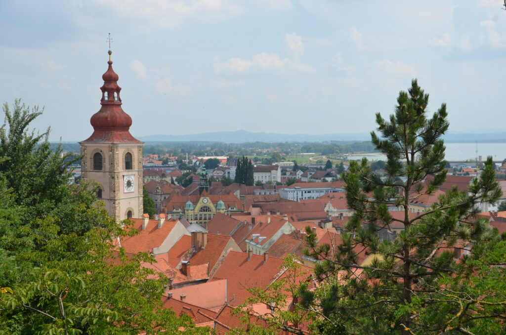 Ptuj, an overview, with in the back the river