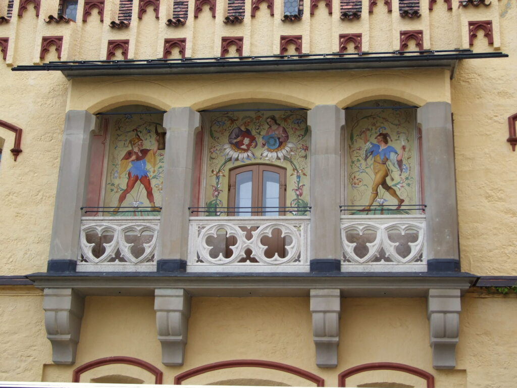Beautiful facades on the outside of the castle
