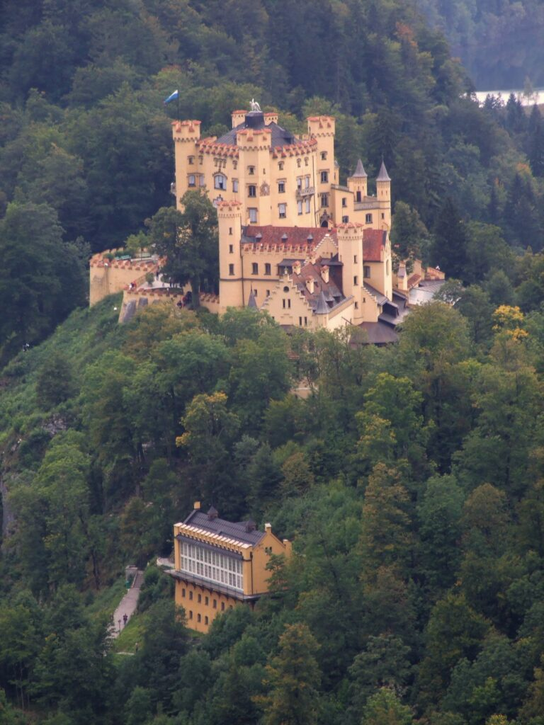Hohenschwangau castle as seen from above