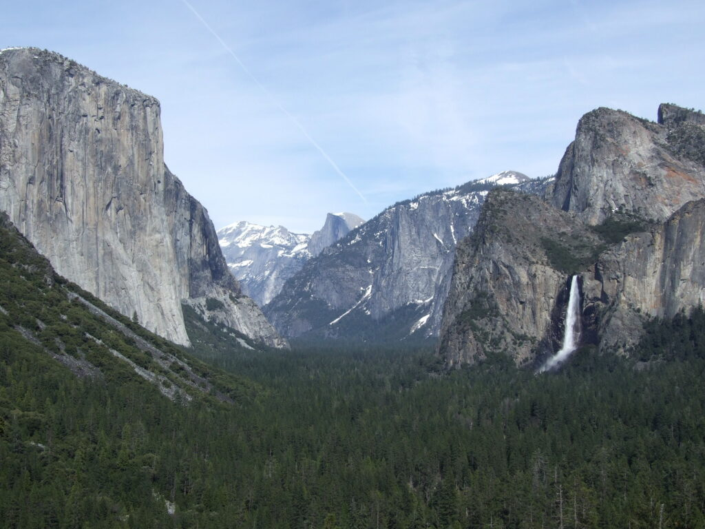 Yosemite Valley , with bridalveil fall on the right