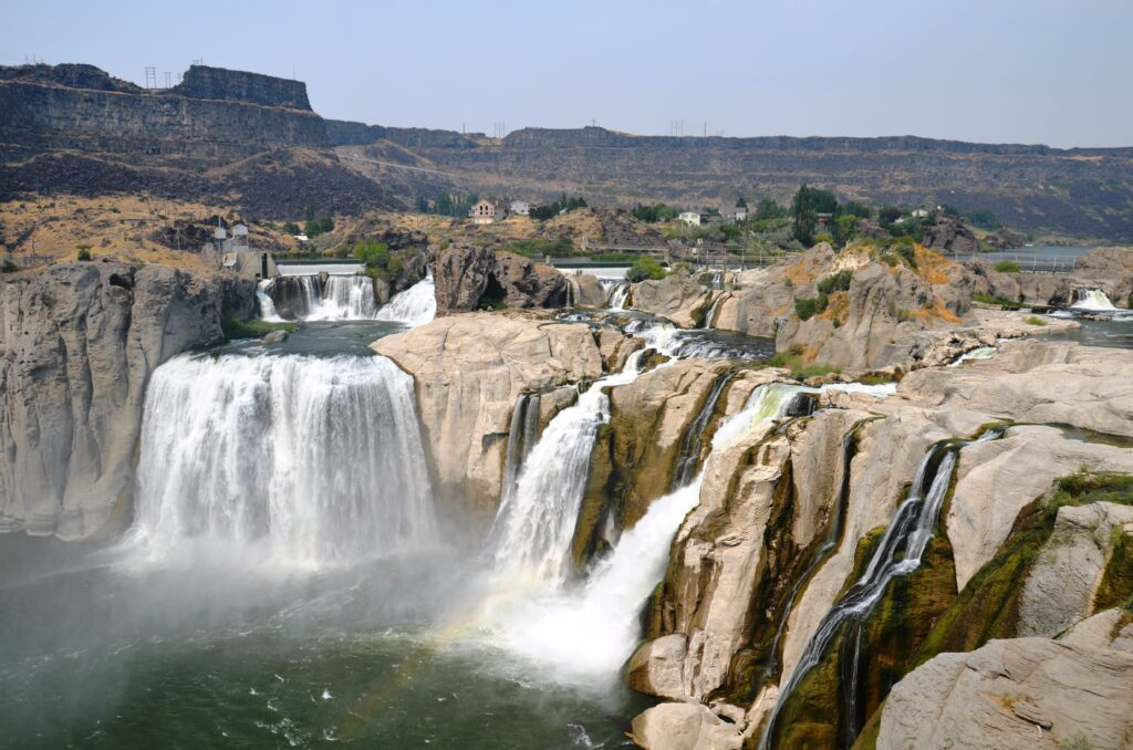 Shoshone Falls, as seen from the South Bank, divided into four streams, one of the most beautiful waterfalls in the US