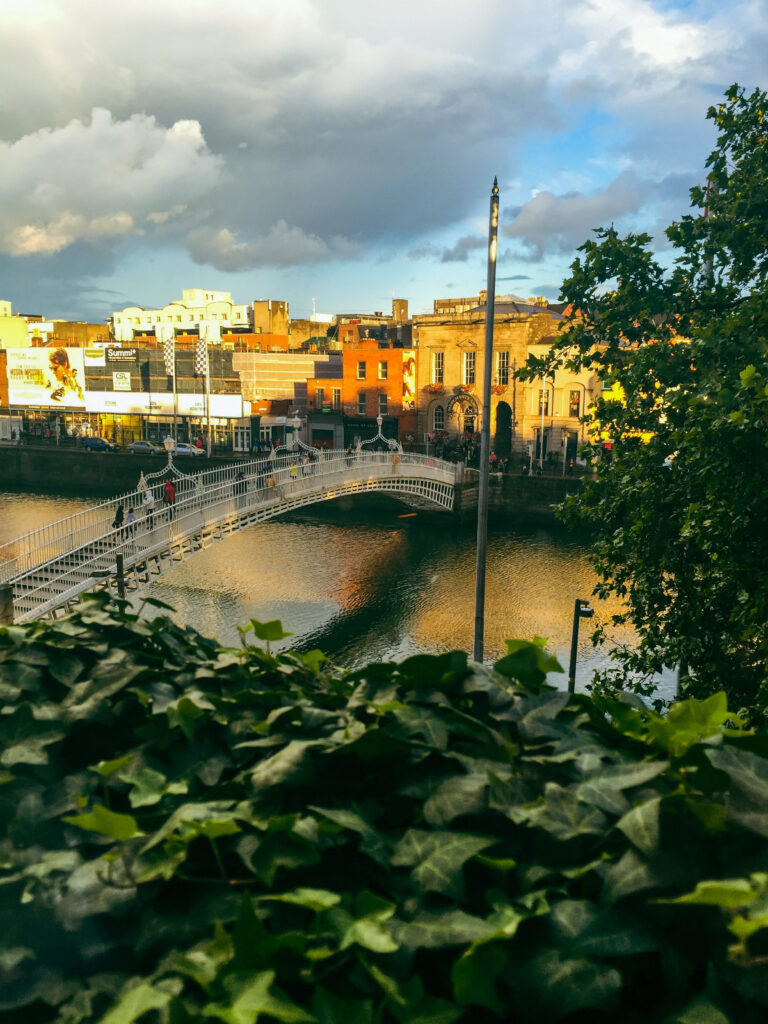 Dublin Hapenny Bridge by A World in Reach, a bridge crossing a river, a small bridge, green in front of the photo, the city behind the river on the other bank