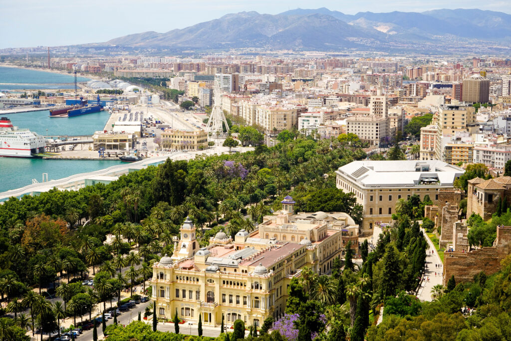 Malaga by Golf on Costa del Sol, an obverview of the city with on the left a bit of sea