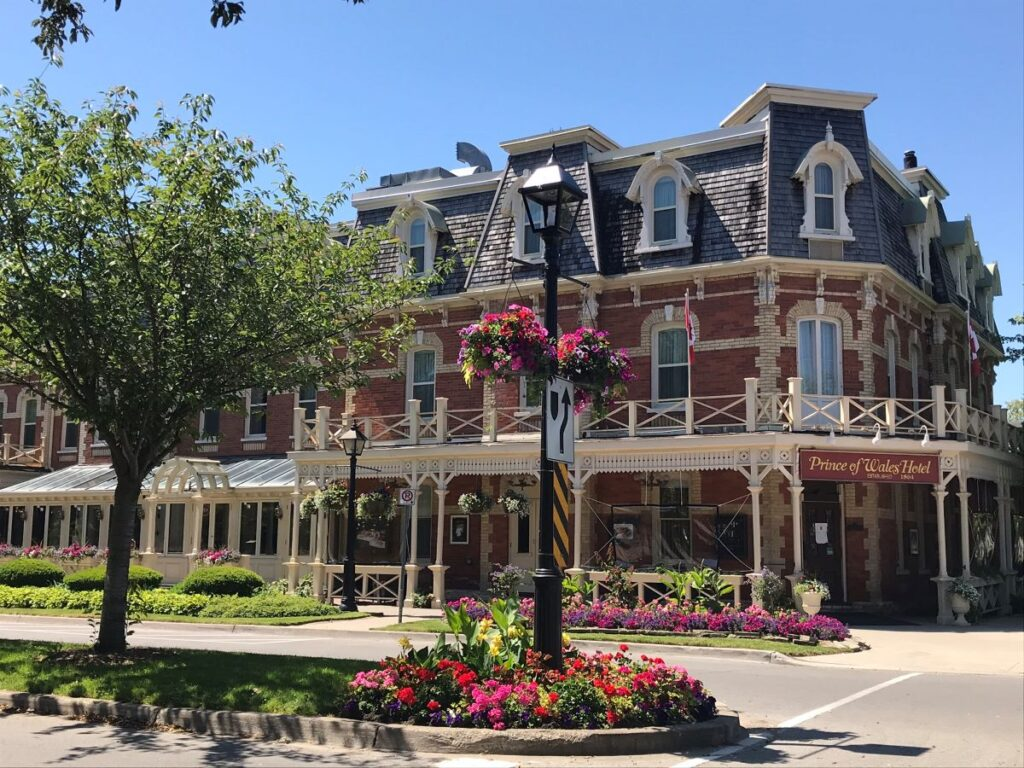 Niagara-on-the-Lake Ontario by In Search of Sarah, with the Prince of Wales Hotel on a corner, a street in front of it