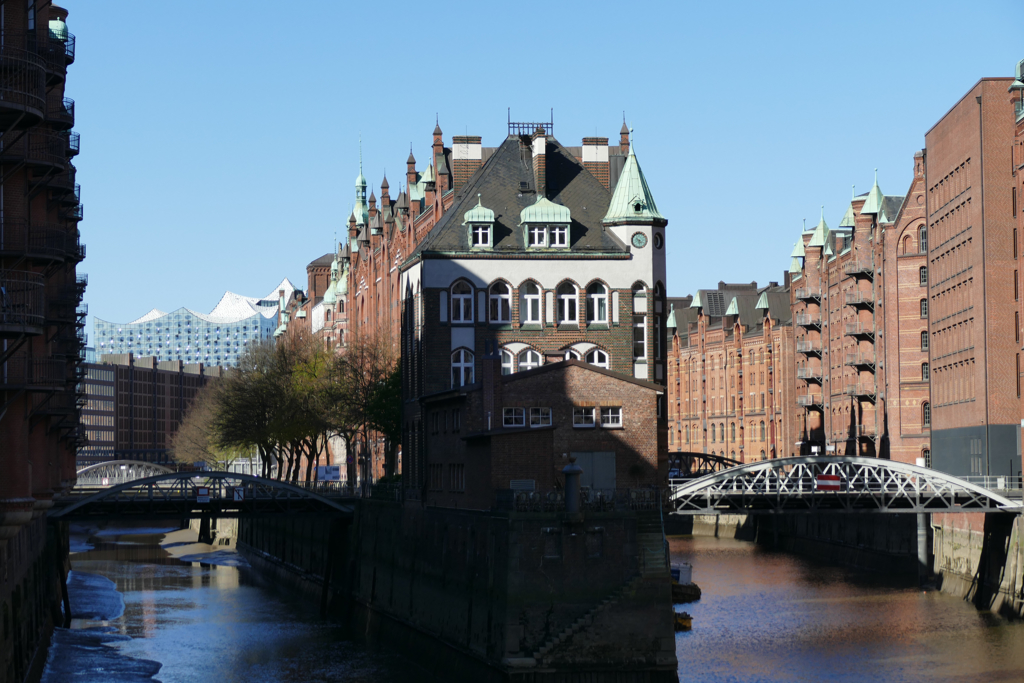 Speicherstadt by Bye:Myself, rows of houses in between canals